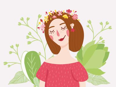 It's spring time 🌺 graphisme portrait girl colors illustration women sun flower spring
