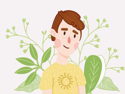 Spring is back ! 🌼 graphisme portrait boy colors illustration man men sun flower spring