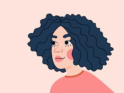 A Confident Women hair smile graphisme portrait girl colors illustration women