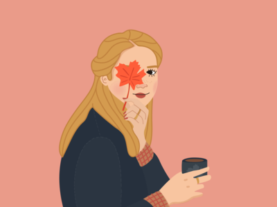 Goodbye fall ! coffee vector portrait colors fall women graphisme illustration