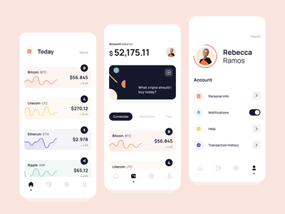 Cryptocurrency app interface design mobile design illustration app ui wallet cryptocurrency