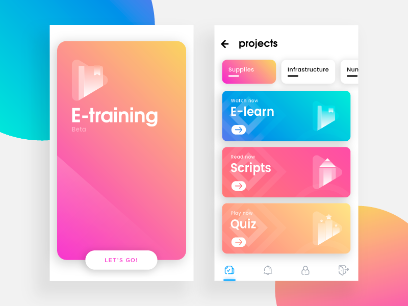 E-Training mobile android ios ux ui project business management colorful gradient card app