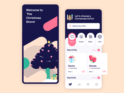 The Christmas Store inspiration store illustration design ux ui app christmas