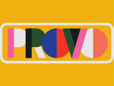Provo simple logo provo vintage color block colorful 70s block letters branding
