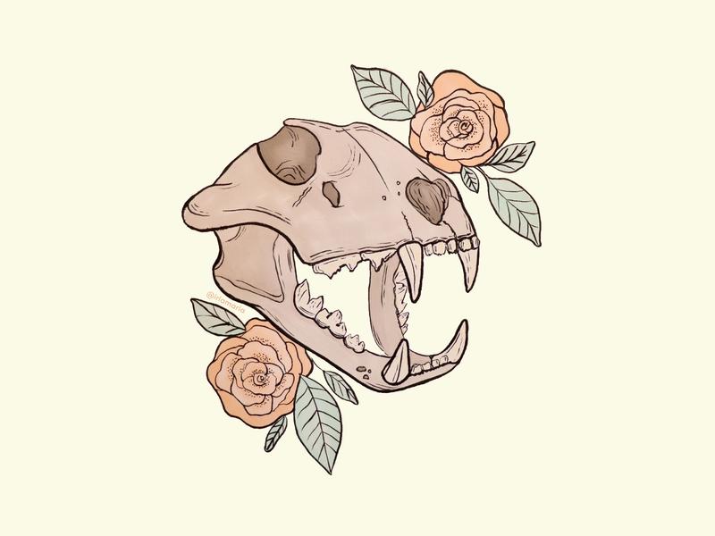 Animal skull & flowers