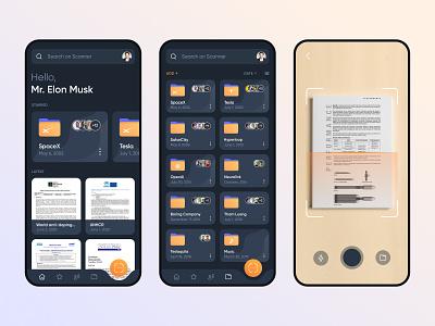 Document Scanner photo elonmusk icon dark mobile digital app design creative ux ui