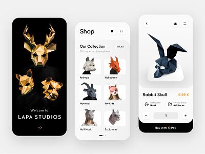 Lapa Studios Shop ecommerce mobile dark design digital creative ux ui