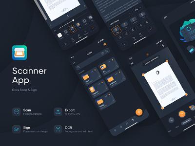 Scanner App logo dark scanner mobile app design digital creative ux ui