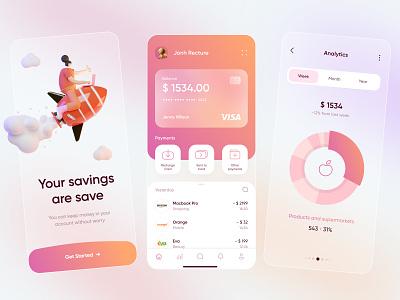 Banking App violet orange white minimal statistic banking uiux mobile