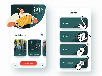Sxid Festival music mobile app ux ui design illustration