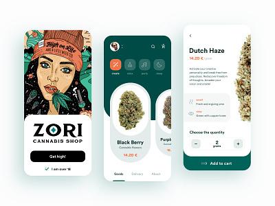 Zori Cannabis Shop cannabis weed ecommerce shop mobile digital design creative app ux ui
