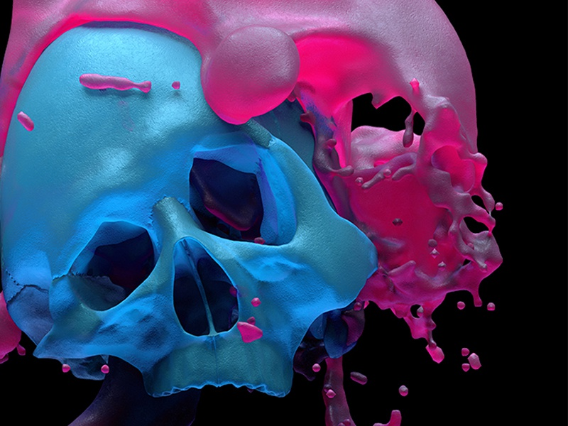 Muffin Blasted candy sss gooey gum apparel cinema4d 3d neon blue skulls skull