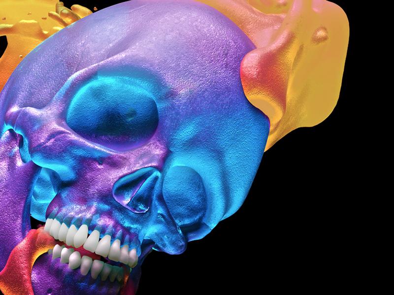 Orange Juice candy sss gooey gum apparel cinema4d 3d neon blue skulls skull