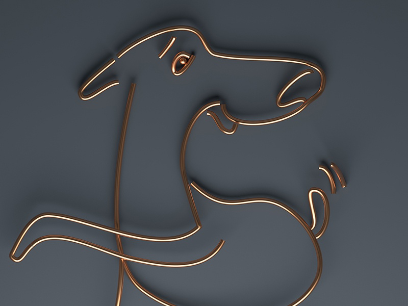 A good boy! dog graphic simple 3d lines