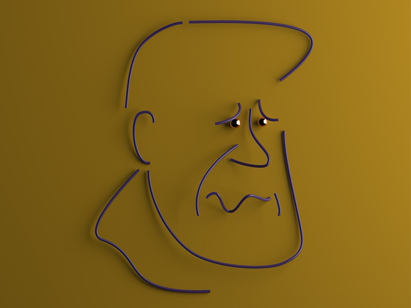 I'm sorry. character portrait emotions graphic simple 3d lines