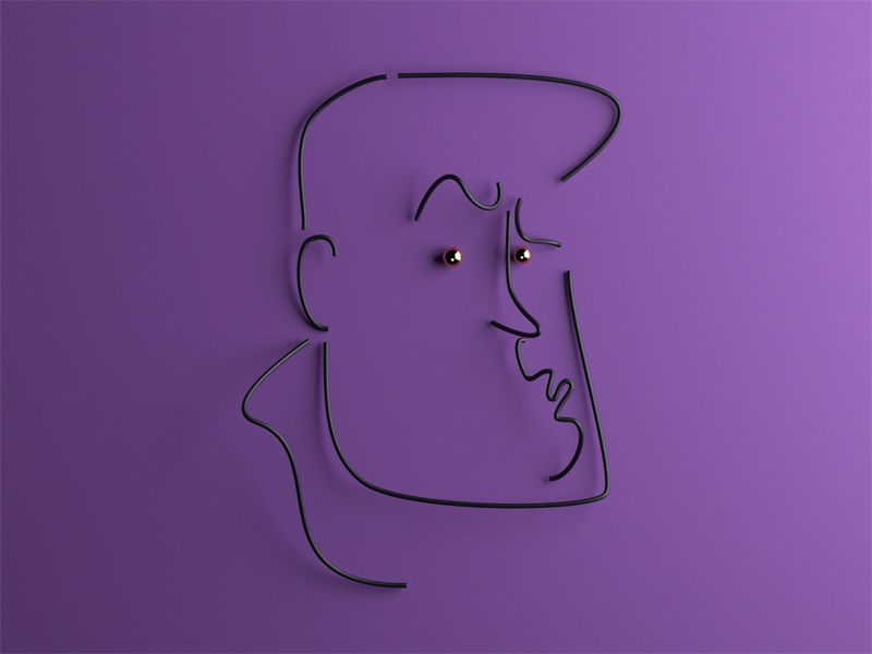 """""""Uh, Baby!"""" character portrait emotions graphic simple 3d lines"""