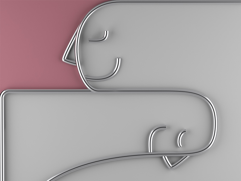 Calm minimal pink gesture lines rendering illustration render cinema4d