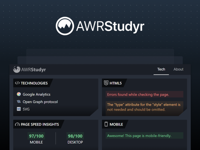 AWRStudyr / Redesign advanced web ranking awr web development technologies social seo pagespeed mobile validation html5 extension