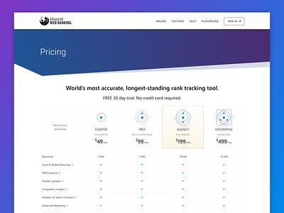 Advanced Web Ranking / Pricing Plan illustration gradient analytics ranking seo seo tool advanced web ranking awr table pricing table pricing plan pricing page pricing plans