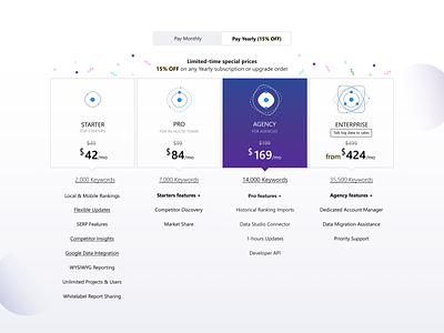 Plan selector - Advanced Web Ranking analytics seo tool seo pricing pricing table abstract illustration ranking awr advanced web ranking pricing plan