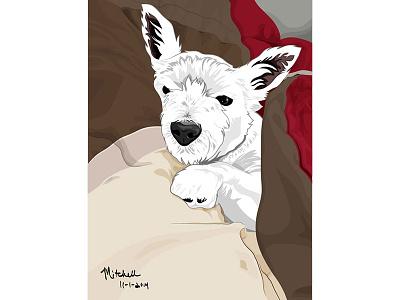 Mitchell dog westie illustration