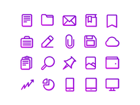 Purple Line Document Icons