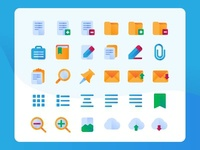 Document Edit Icons in Flat Style
