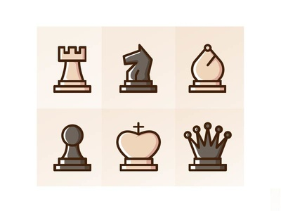Chess Icons in filled line style