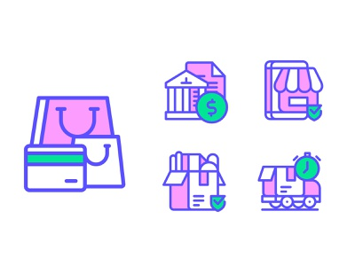E-commerce Icons packing bank splash page splash app store paper bag shipping payment vector illustration line icon line icon onlinestore onlineshop ecommence display icons designsystem sign symbol icons