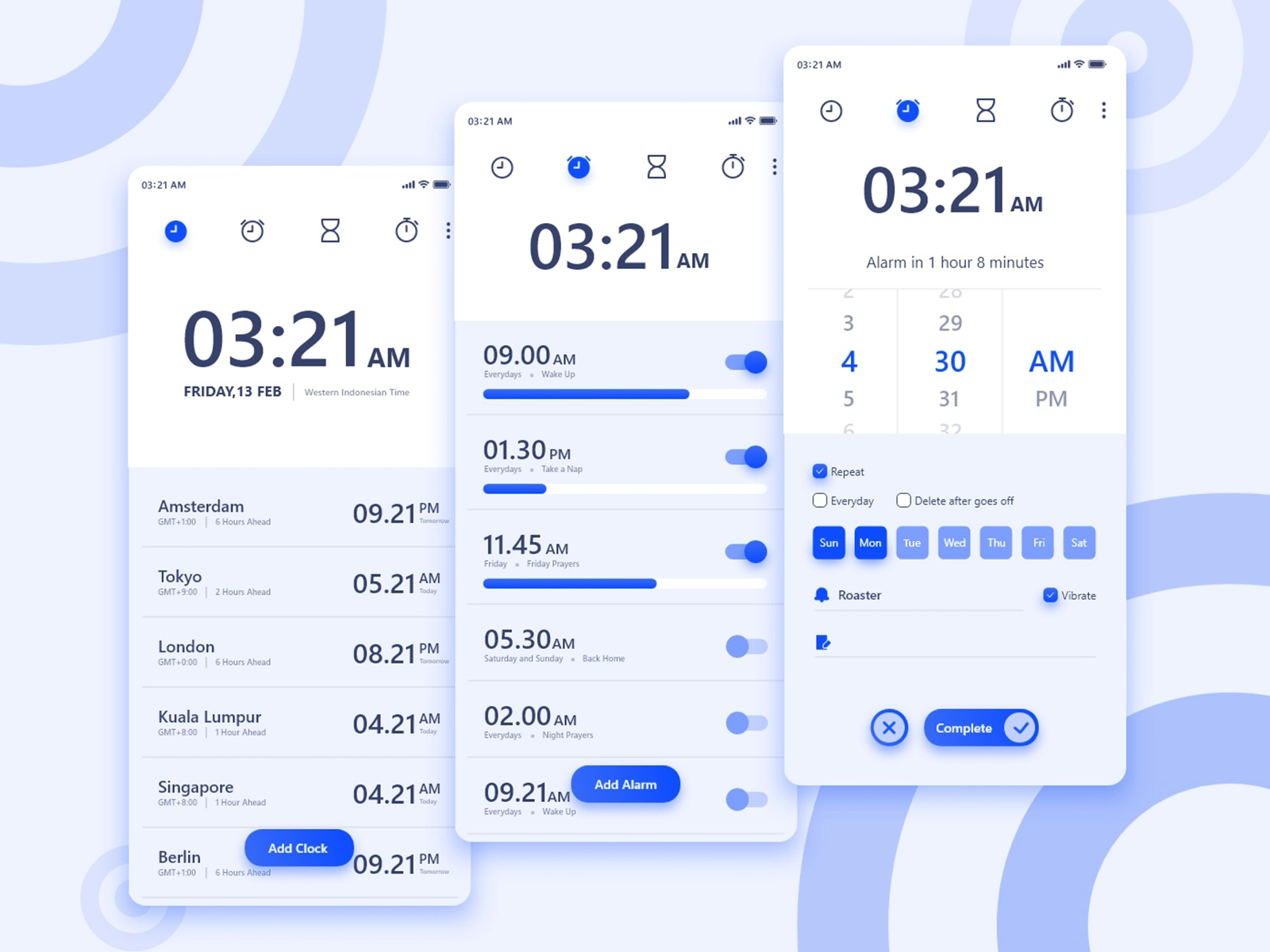 Clock App android app material design dayliui app concept interface gradient reminder schedule mobile icons ux ui alarm app alarm stopwatch timer clock ios android app