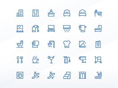 Hotel Needs Icon Set ux ui symbol room restaurant motel hotel icon design iconography icon set icon pack icons icon