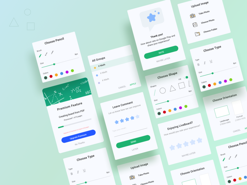 UI components uicomponents education learning ios android sizes elements premiumcards color brush components graphic rating tools app design ui