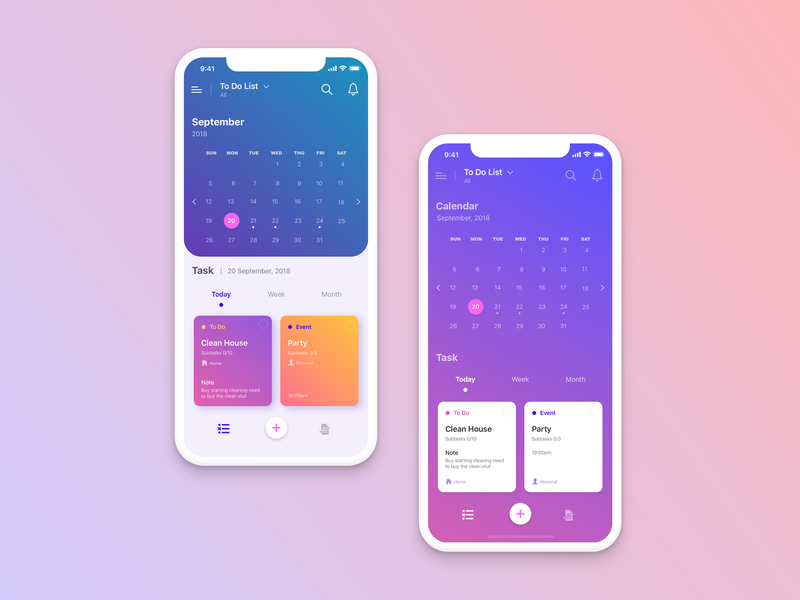 Todo app concept gradient background gradient color app design ux ui todo app todo task schedule mockup mobile menu iphone x ios