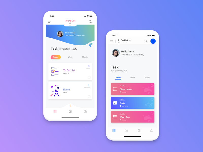 Todo app concept user interface design startup ux ui todo app todo task mockup mobile gradient color gradient background illustrations phone x ios design app