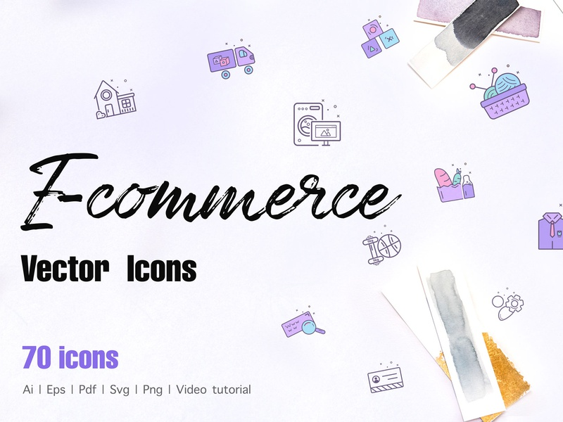 E-commerce icons dribbble design vector icondesign illustration line icon colored icons web icons icon app illustrator icons pack icons design icons set icons