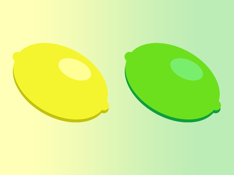 Fruitful Icons - Lemon & Lime green yellow shapes fruit flat design icon lime lemon