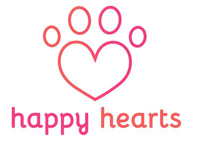 Happy Hearts Logo orange pink cursive paw print heart icon logo