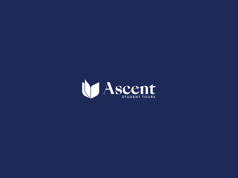 Ascent Student Tours Logo bird logo book design branding brand bird type logo