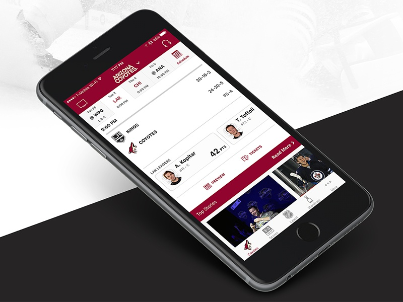 2016 Nhl App Team View By Chris Disanto On Dribbble