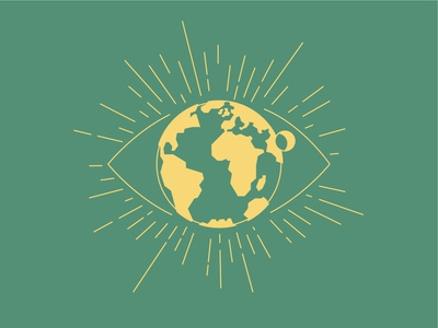 Worldview summercamp green yellow moon globe eye worldview view world ministry church shirt vector simple minimal illustration