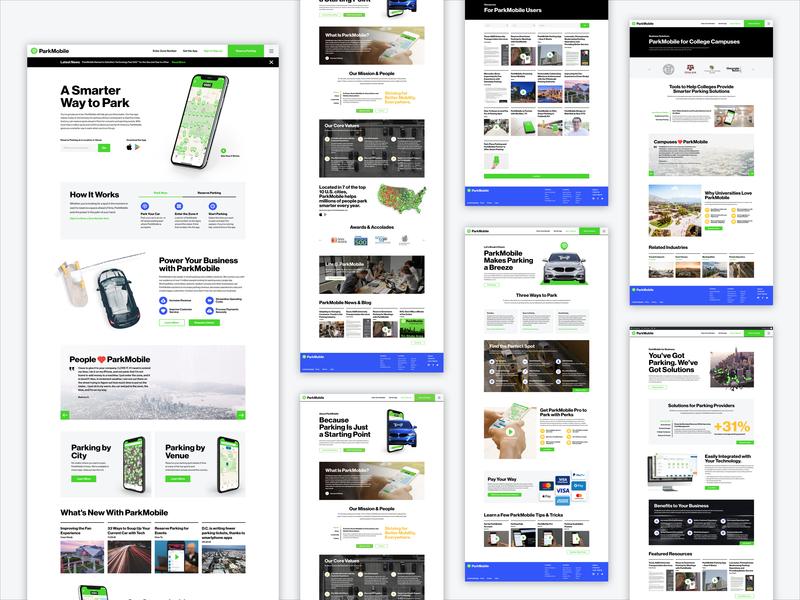 ParkMobile Website Design usa digital atlanta branding redesign website marketing app green grey blue photoshop composite ux ui design park parking