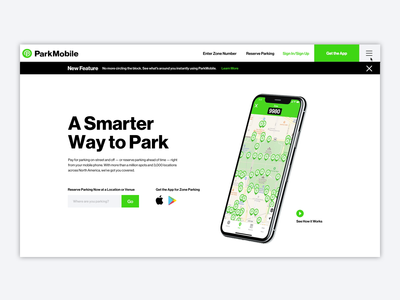ParkMobile Website Design Homepage Intro app atlanta blue branding composite design digital green  grey marketing park parking photoshop usa ux website redesign ui swiss minimal simplicity
