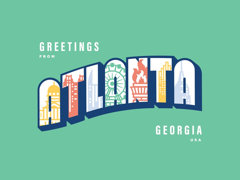 A Post Card for Atlanta mail post postcard georgia ga web atl icon typography vector digital design simple atlanta minimal illustration