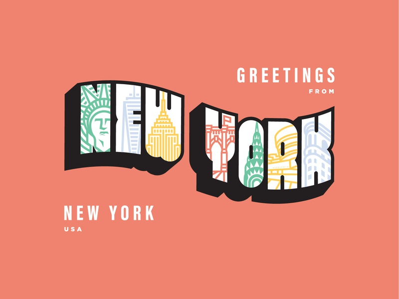 A Post Card for NYC guggenheim chrysler brooklyn bridge one world trade center empire state building statue of liberty new york city new york nyc flat web typography icon vector digital design simple illustration minimal