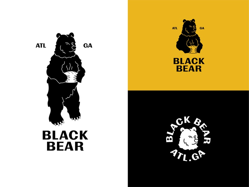 Black Bear Breakapart bakery baker bread grizzly blackbear bear marketing georgia typography icon vector logomark branding atlanta digital design simple illustration minimal