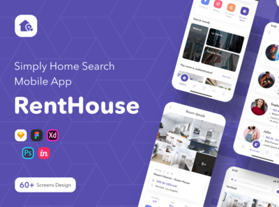 RENTHOUSE – SIMPLY HOME SEARCH MOBILE APP UI KIT mobile app design renthouse ui kit