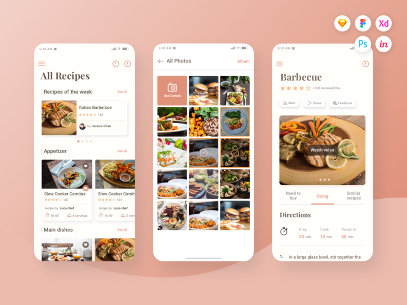 Caco Cooking UI Kit (Part 2) cook psd cook xd cook sketch guide cook guide cooking guide cooking ui kit cooking ui cooking cook