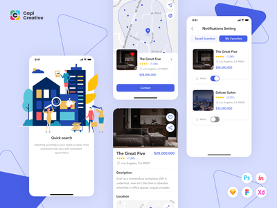 FiHome - Real Estate Mobile App UI Kit mobile app ui design ui estate agency estate ios vector figma sketch capi app mobile creative design ui kit
