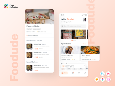 Foodude - Food Delivery App UI KIT ui design mobile app kit app design ui ios sketch creative design ui kit