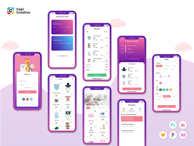 Moby E-commerce App Ui Kit ecommerce app figma sketch ios ecommerce kit app design ui app mobile creative design ui kit
